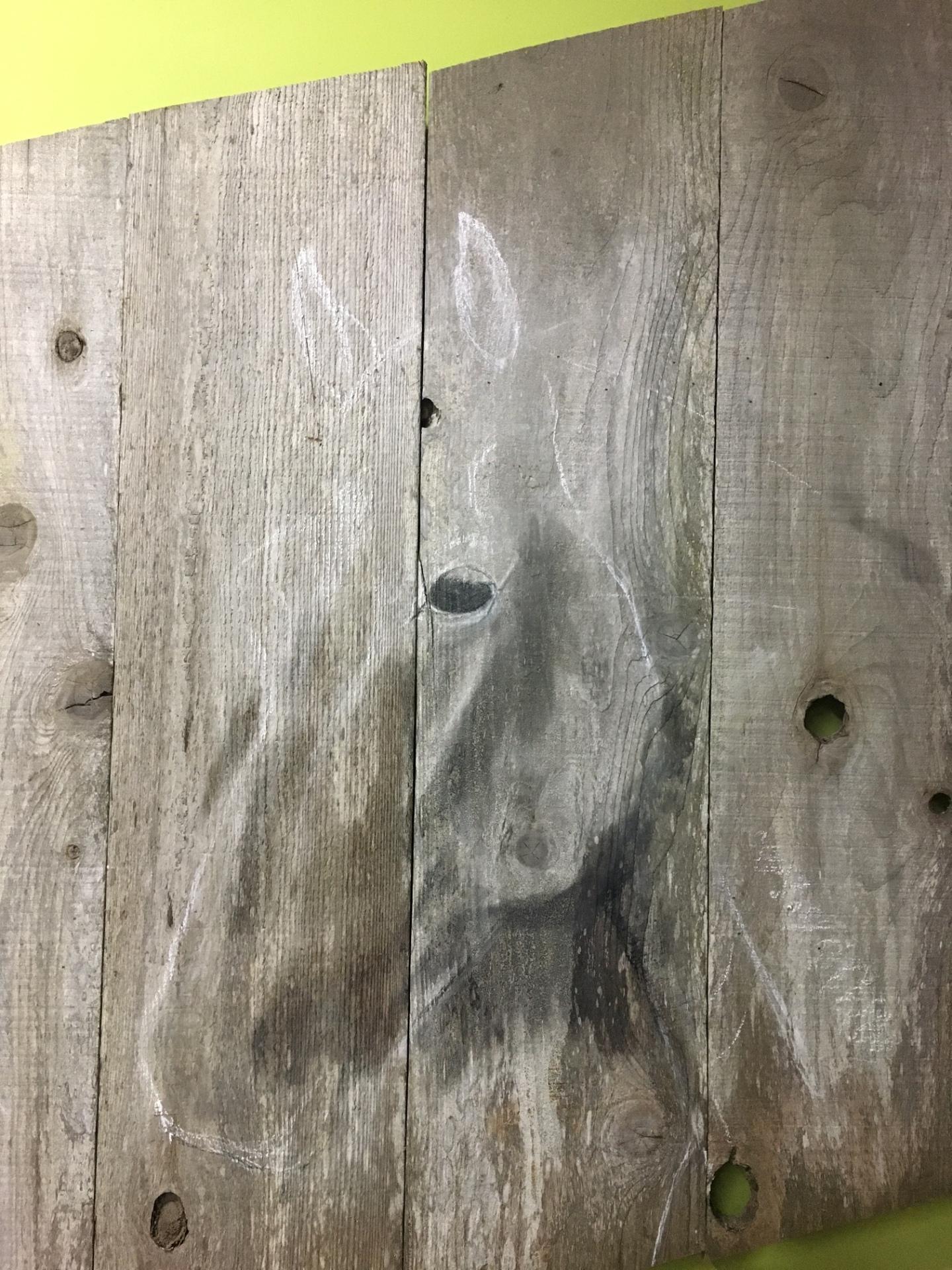 Horse painting, beginning process, Rusty Croft