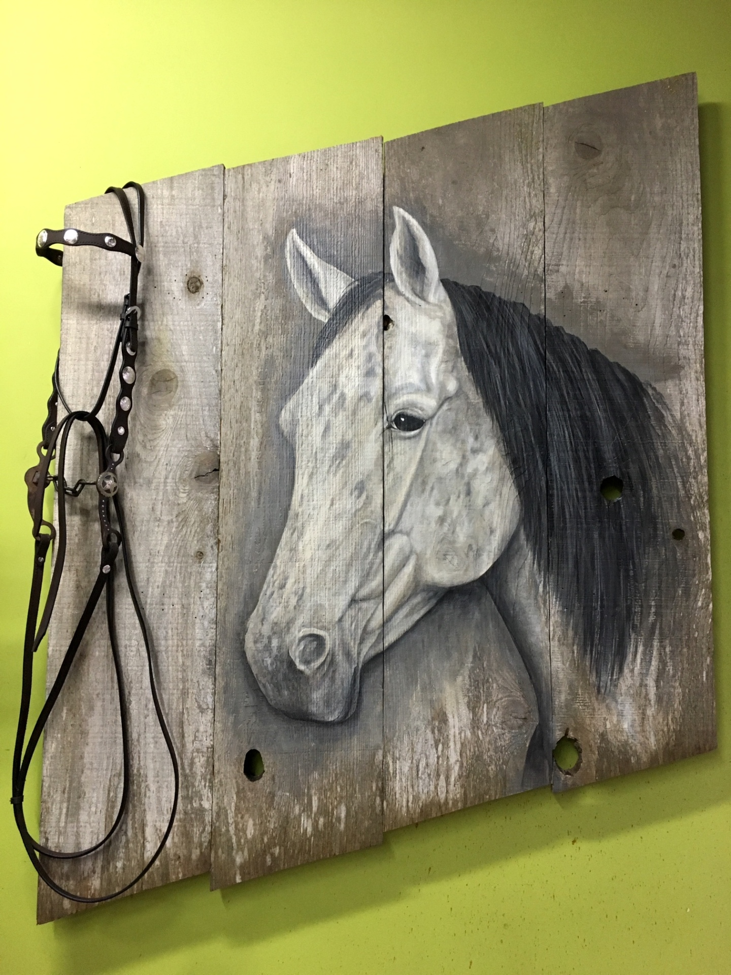 Horse painting on barn wood, commission from designer in Carmel,Ca. Rusty Croft