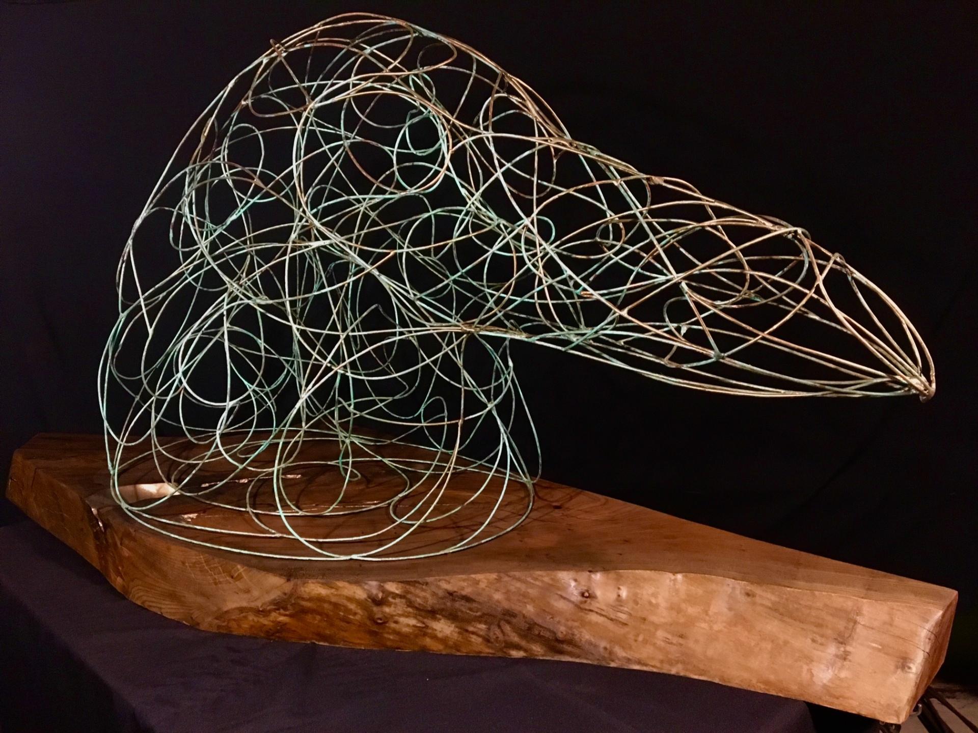 Raven sculpture, steel & black walnut by Rusty Croft