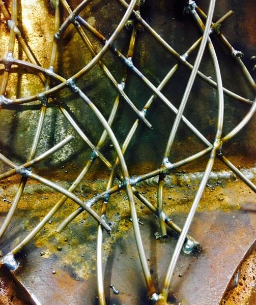 Welded steel close up, mig welded 1/8 steel rod.