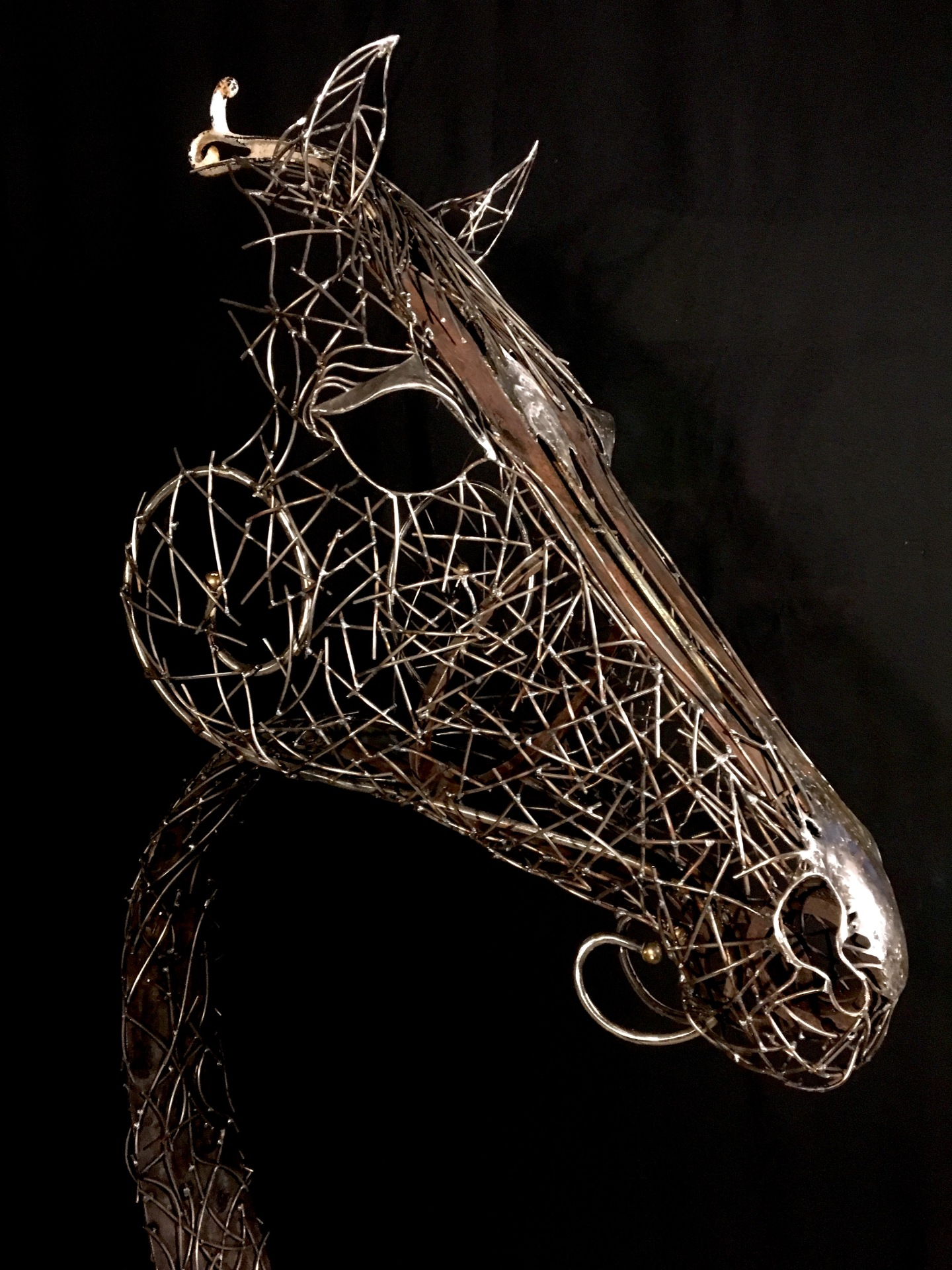 Horse sculpture, welded steel commission by Rusty Croft