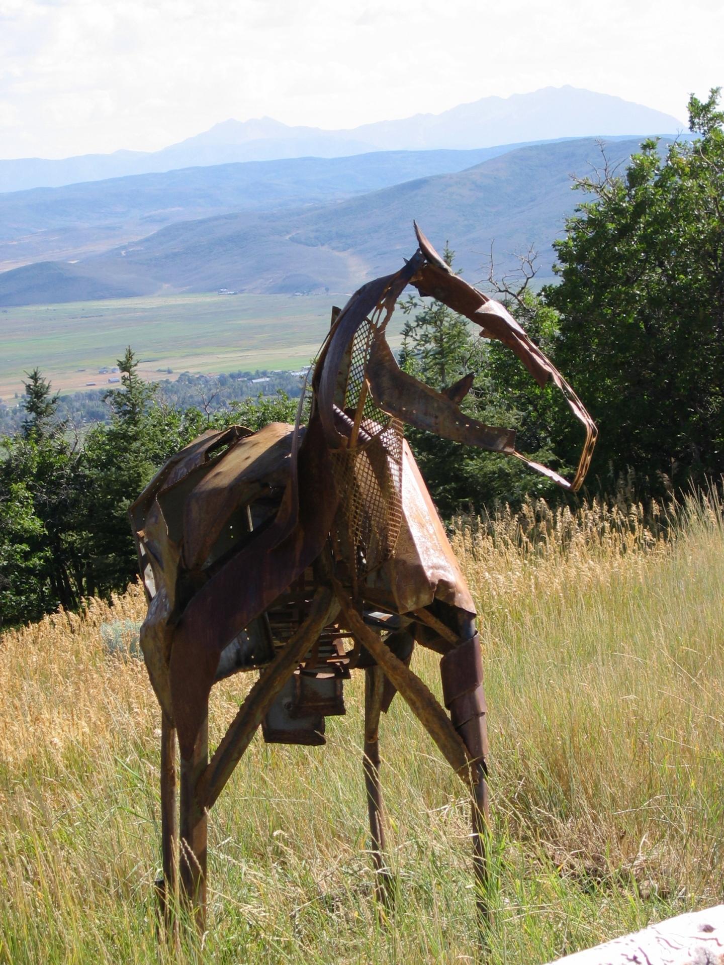 Life size steel horse sculpture, Utah, Rusty Croft, Carmel California
