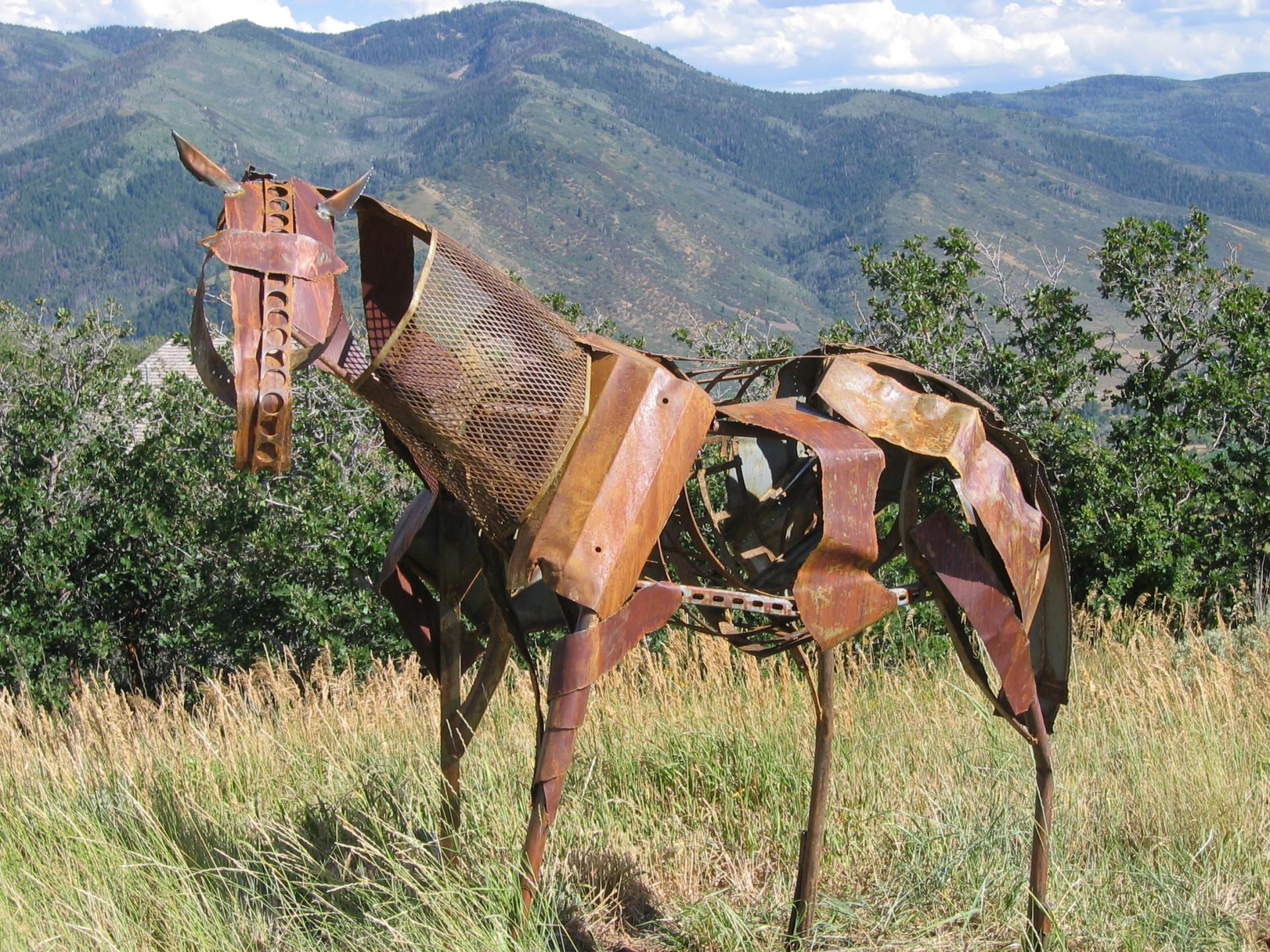 Life size horse sculpture, recycled steel, Utah, Rusty Croft, Carmel California