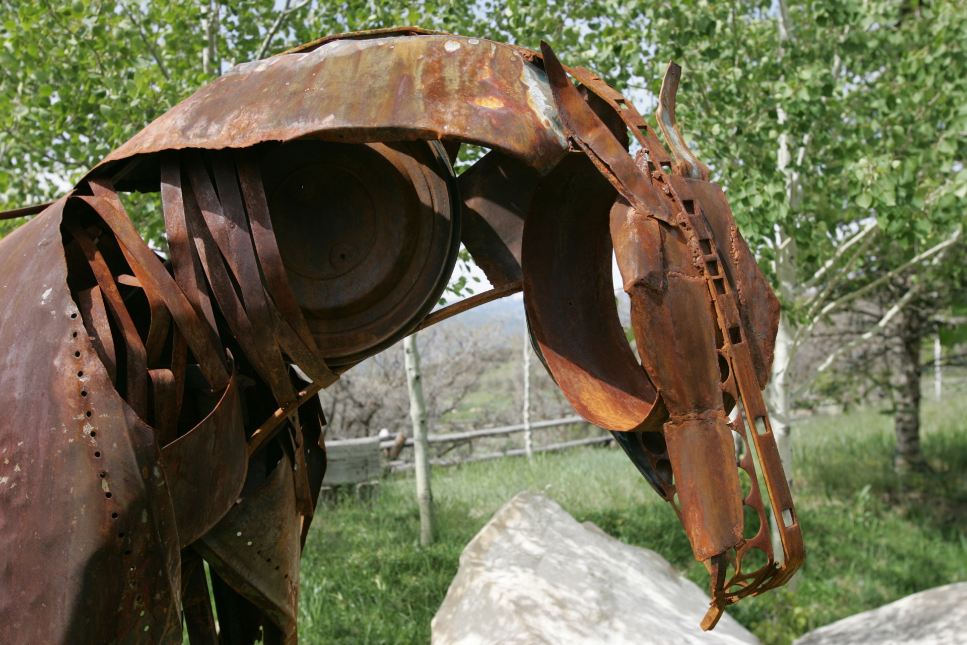 Life size steel horse sculpture, recycled steel, Rusty Croft, Carmel California