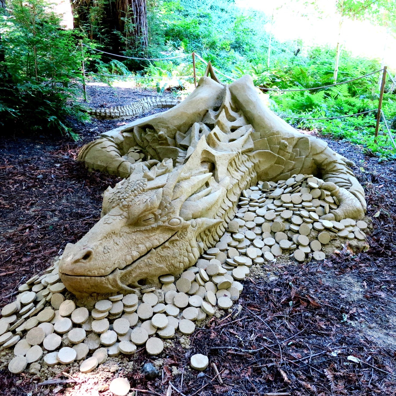 Dragon sand sculpture at Nestldown in Santa Cruz by Rusty Croft, Carmel, Ca