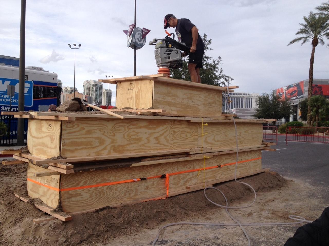 Sand sculpture beginning process, SEMA car show, Rusty Croft