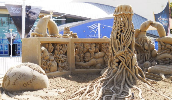 California Aquarium of the Pacific sand sculpture by Rusty Croft, Carmel California.