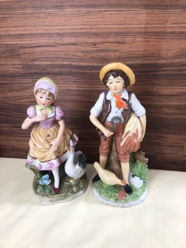 Vintage Ceramic Farm Boy and Girl Figure Set Animal Collectible $12.00