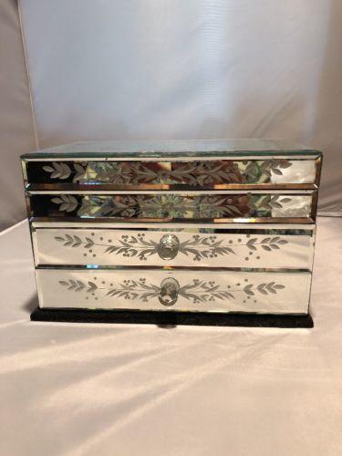 Vintage Glass Flowers Jewelry Trinket Box Black Velvet $40.00