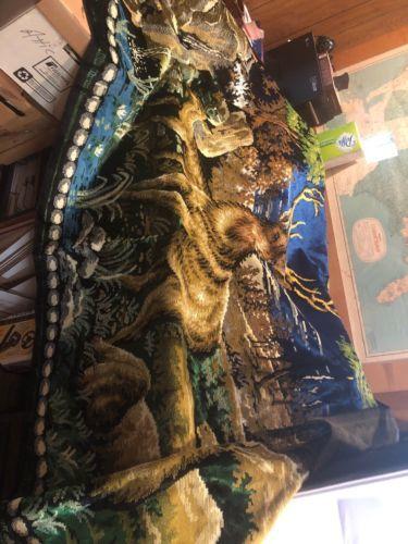 Vintage Wall Hanging Rug Tapestry Deer Stag Buck Doe Forest Pond $75.00