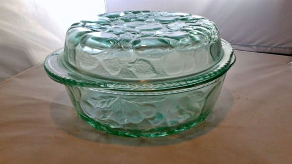 Green, glass oven safe dish with fruit pattern $15.00