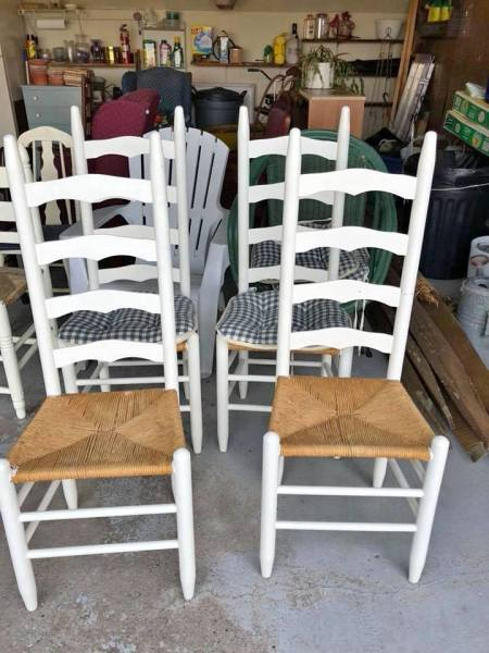 Ladder back wicker seat chairs $75.00
