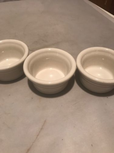 "VTG SYRACUSE CHINA (3) Ramekins Or Relish Dishes White 2"" Tall 3"" Diameter $12.00"