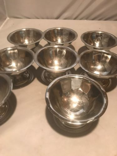 8 Vintage CORNING GEMCO Stainless Steel G5048 Dessert Ice Cream Dishes$16.00