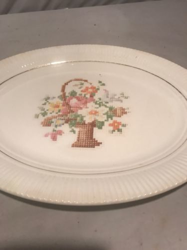 Salem China Company Basket P.P. Petit Point Serving Dish Platter$14.00