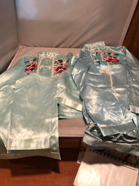 Vintage Japanese Satin Silk Pajamas Tips Bottoms Hand Embroidered $50.00