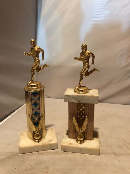 Vintage Collectible Trophies With Marble Base Made in Italy Running$25.00