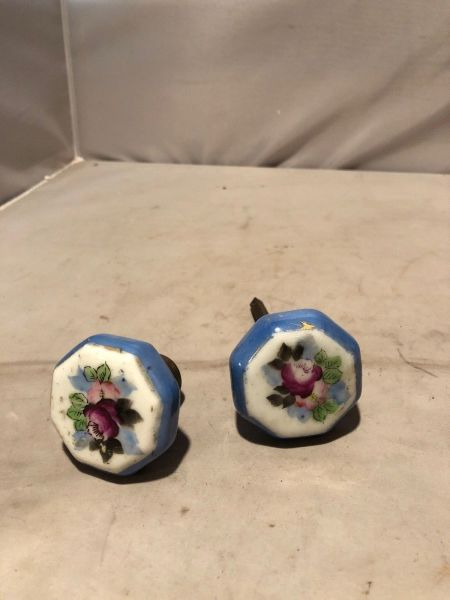 Vintage Porcelain Door Knob Set- Hand Painted Floral Blue $45.00