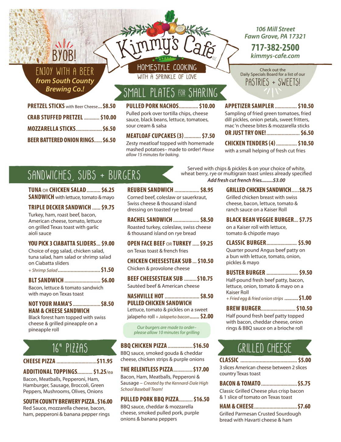 Kimmy's Cafe Sandwiches, Subs & Pizzas