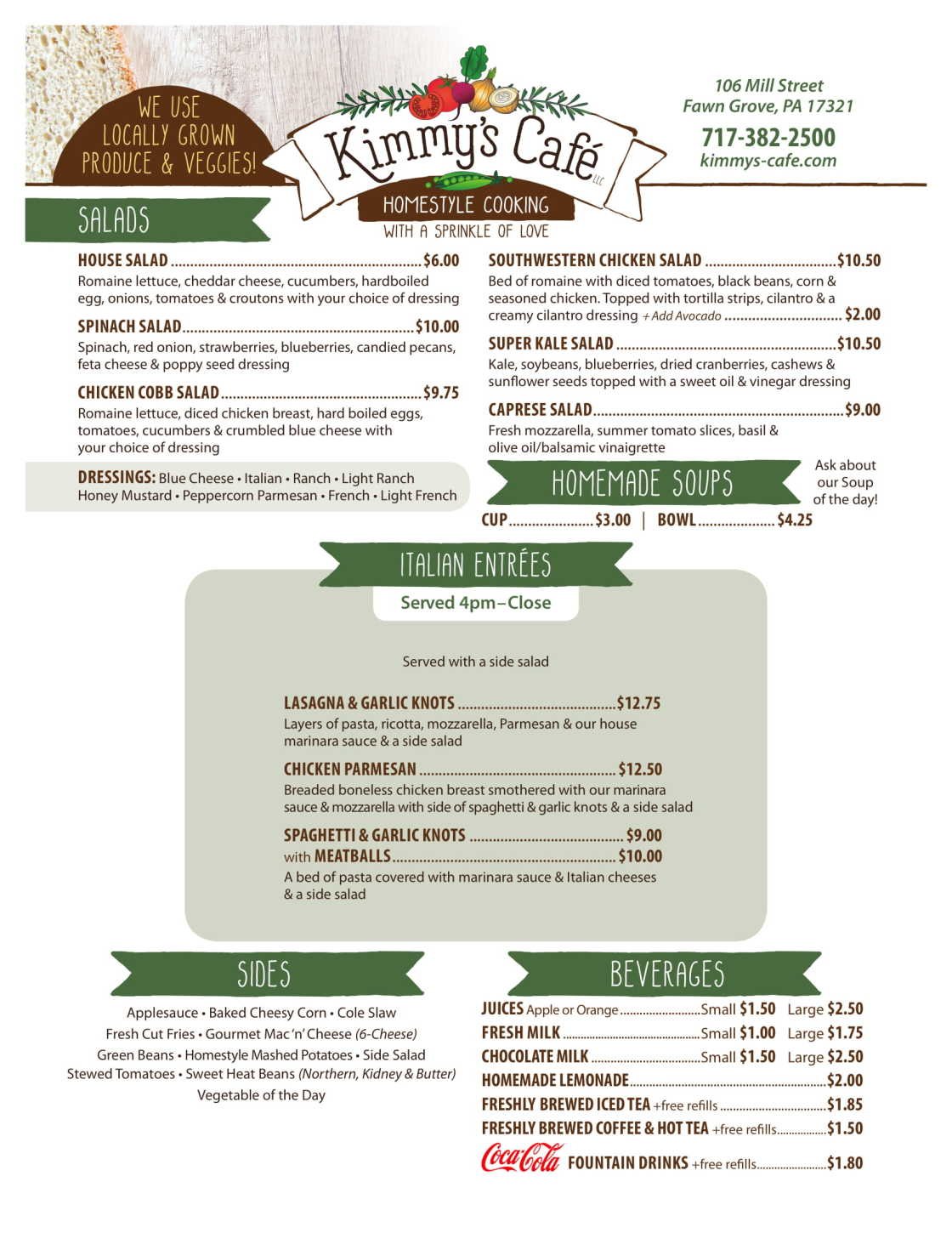 Kimmy's Cafe Salads, Entrees & Sides