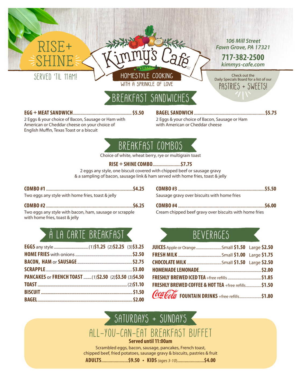 Kimmy's Cafe Breakfast Menu