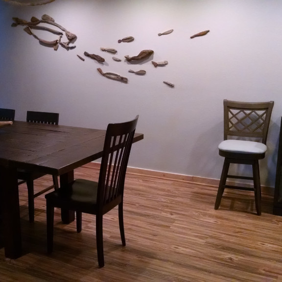 driftwood mural in great room