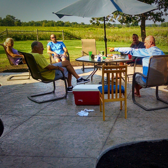 gathering on the patio