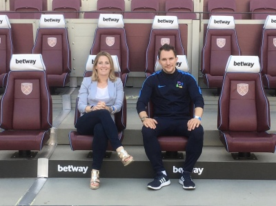Founders of Goal 17 Fran Boorman and Keith Mabbutt launching at West Ham United and Manchester Unite