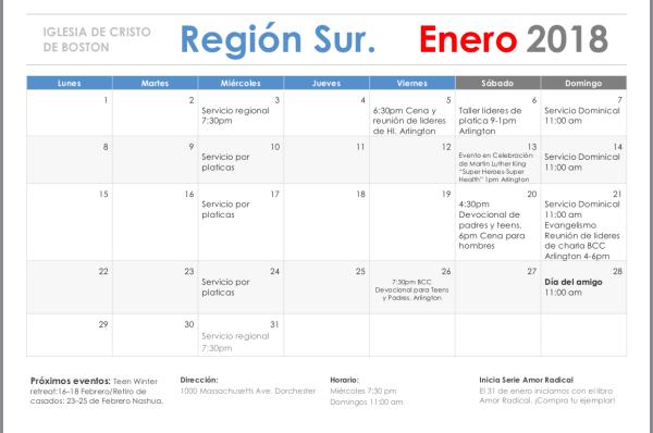 Enero. Región Sur