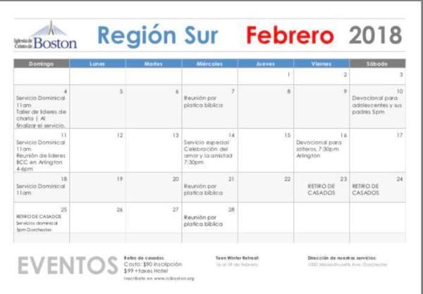 Febrero. Región Sur