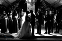 black and white silhouette bridesmate and groomsmate wedding photo