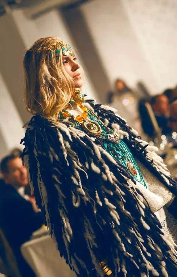 neiman marcus private fashion show colorful feather coat model