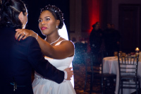 touching sweet moment when groom dance with bride, wedding dancing party