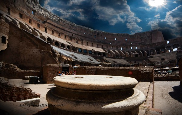 italy Roam Colosseum abattoir ceiling design professional architecture photography gold and blue sky
