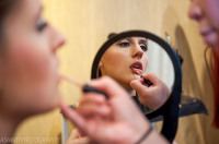 bride make up prepare mirror reflection unique artistic wedding photo
