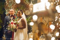 christmas light low lighting night time unique wedding photo