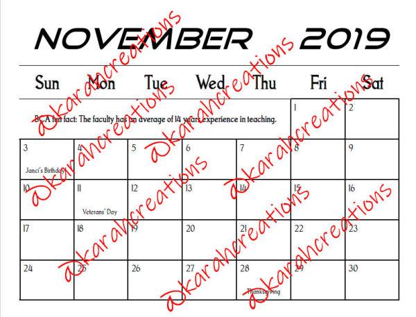 2019 Lady Bulldogs Calendar
