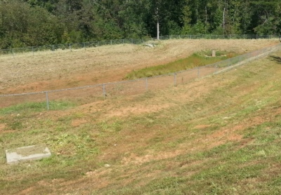 A stormwater detention basin in Travelers Rest, SC