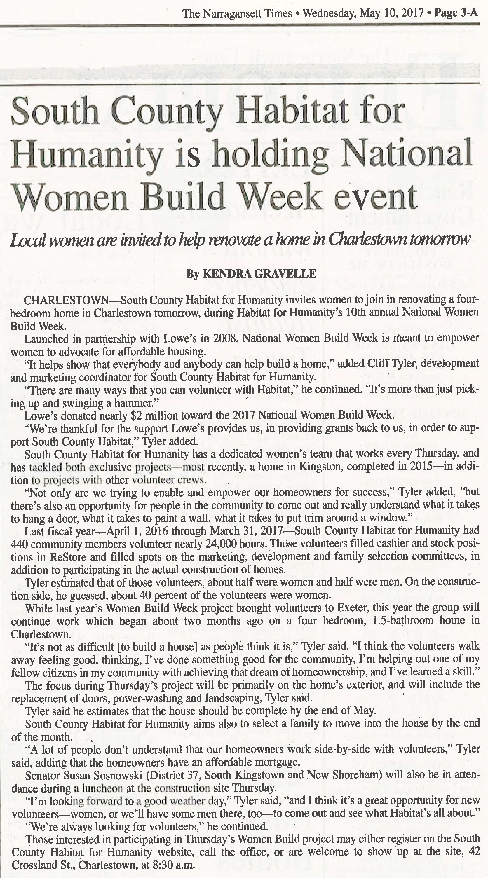 National Women Build Week - Narragansett Times