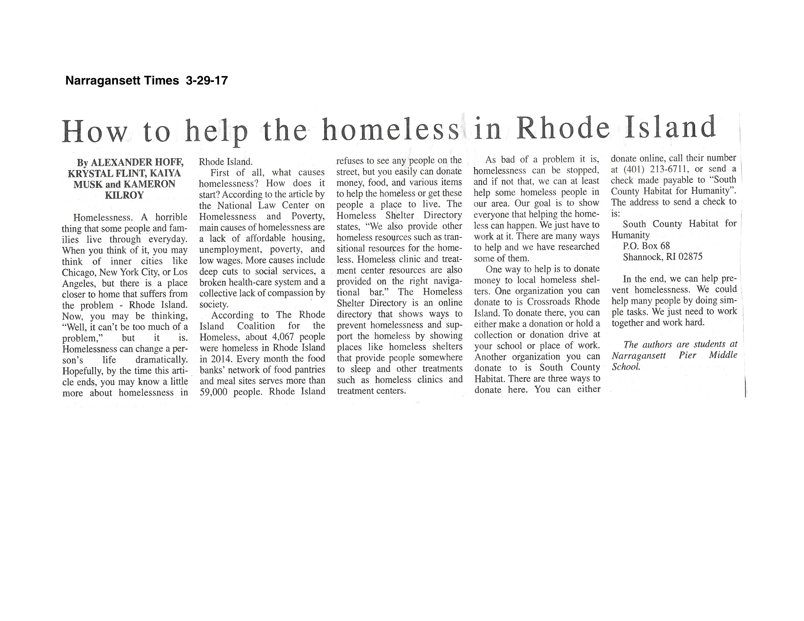 How to help RI Homeless - Narragansett Times