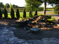 Custom Pondless Waterfall and random flagstone patio in Stirling Ontario