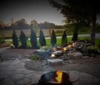 rock waterfall, aquascape, fire pit, hardscaping, garden design