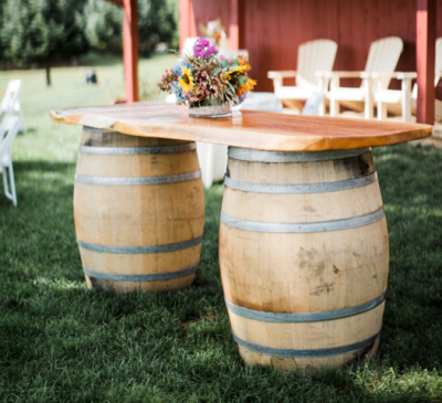 Wine barrels & wood slab