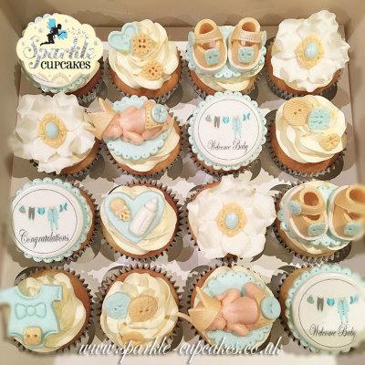 Christening Cupcakes, Boys, sparkle cupcakes leeds, cakes leeds, birthday cakes leeds, cake makers leeds, leeds,