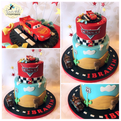 cars 2 tier birthday cake, lightning Mcqueen, Our cakes & cupcakes are perfect for any special occasion, including...   Birthdays, Weddings, Anniversaries, Christenings, Baby Showers, Mothers Day, Halloween, New Arrivals, Christmas, Valentines Day, Personalised Cupcakes and more., cakes leeds,