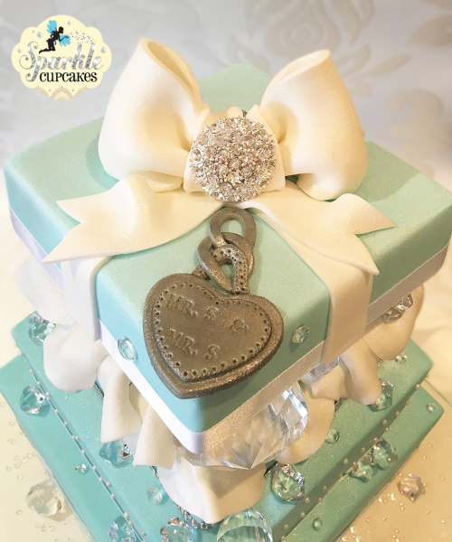 3 1/2 Tier Tiffany & Diamonds Wedding Cake with oversized crystals, lace and diamante Bow, wedding cakes leeds, cake makers, leeds, cakes leeds