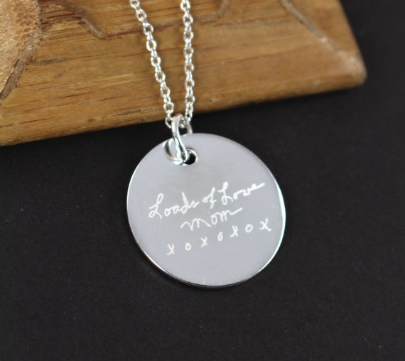 Custom Engraved Handwriting Pendant Necklace