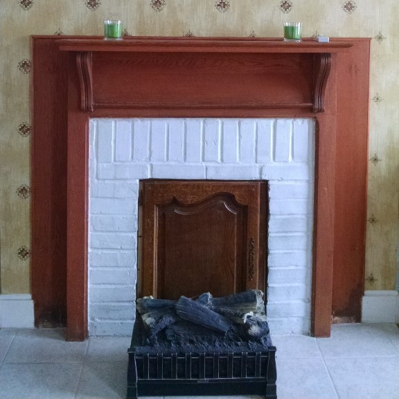 Pecan room fireplace