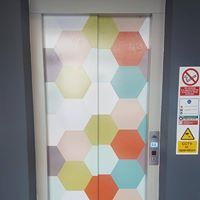 Hexagonal multi coloured printed vinyl