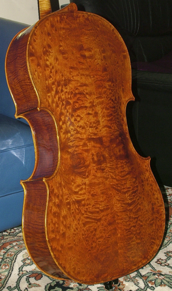 This cello's quilted maple back and sides